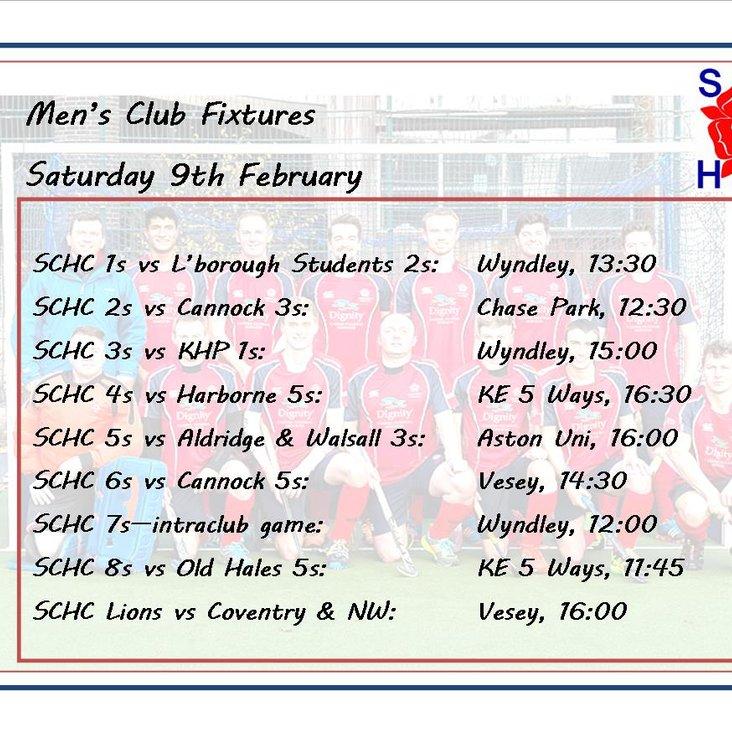 Men&#039;s League fixtures, Saturday 9th February<