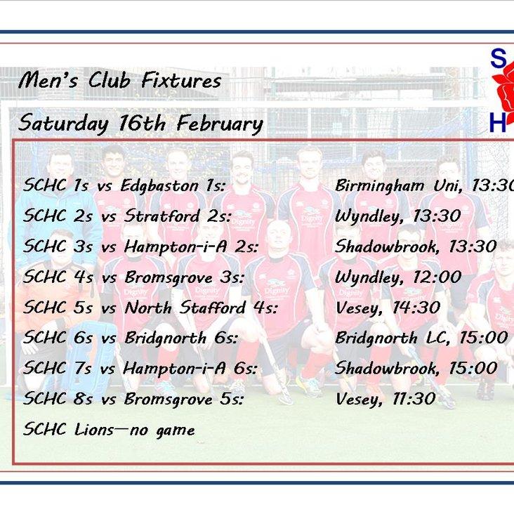 Men&#039;s League Fixtures, Saturday 16th February<