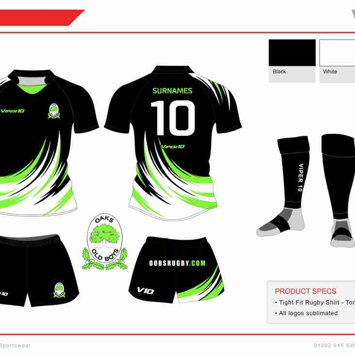 OAKS OLD BOYS VETS 10S TEAM KIT FOR BOURNEMOUTH 7S WEEKEND