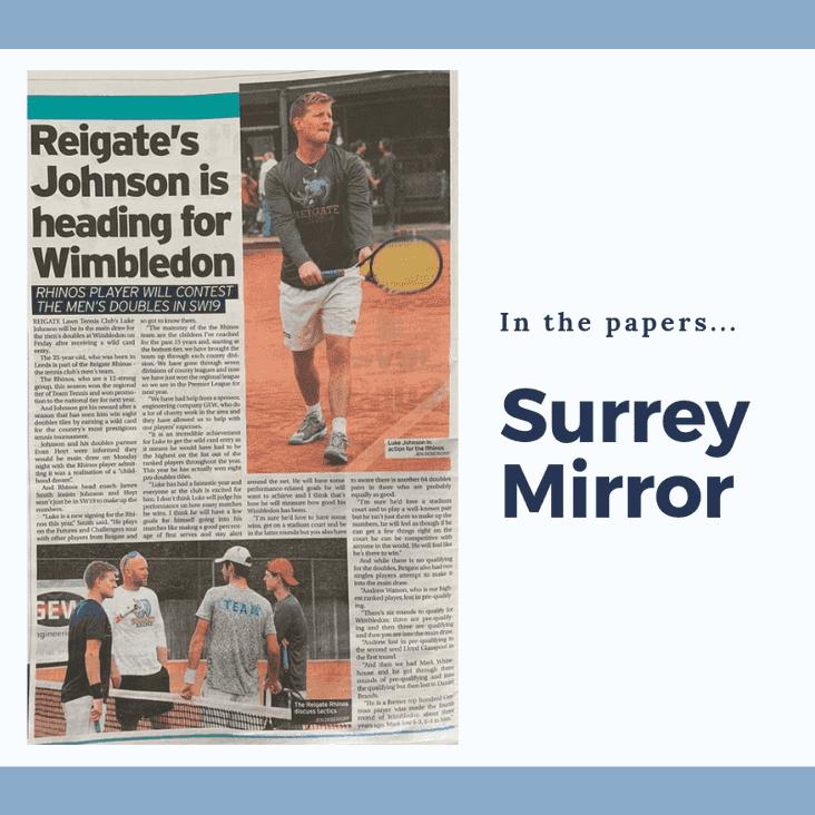 Rhino Luke Johnson in main Wimbledon Doubles Draw