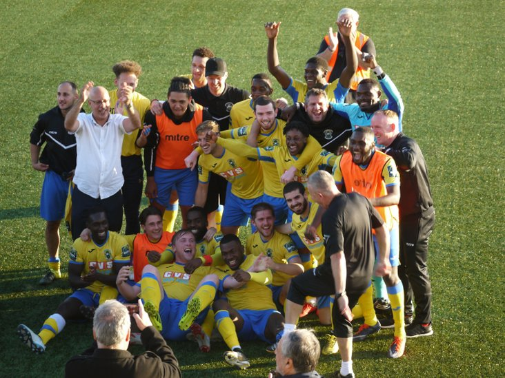 Borough celebrate getting to the FA Cup First Round for the very first time