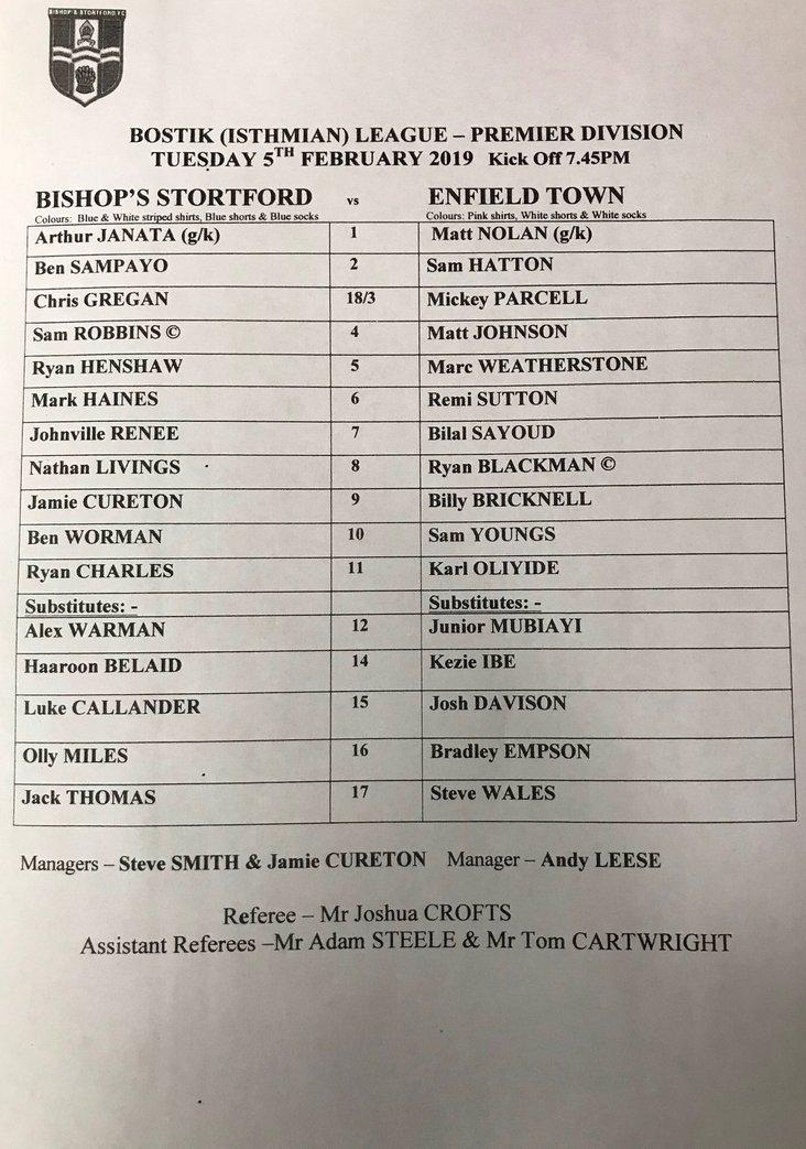 Bishop's Stortford v Enfield Town 050219