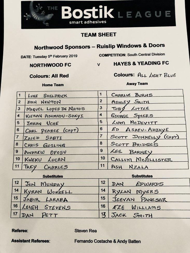 Northwood v Hayes & Yeading Utd 050219