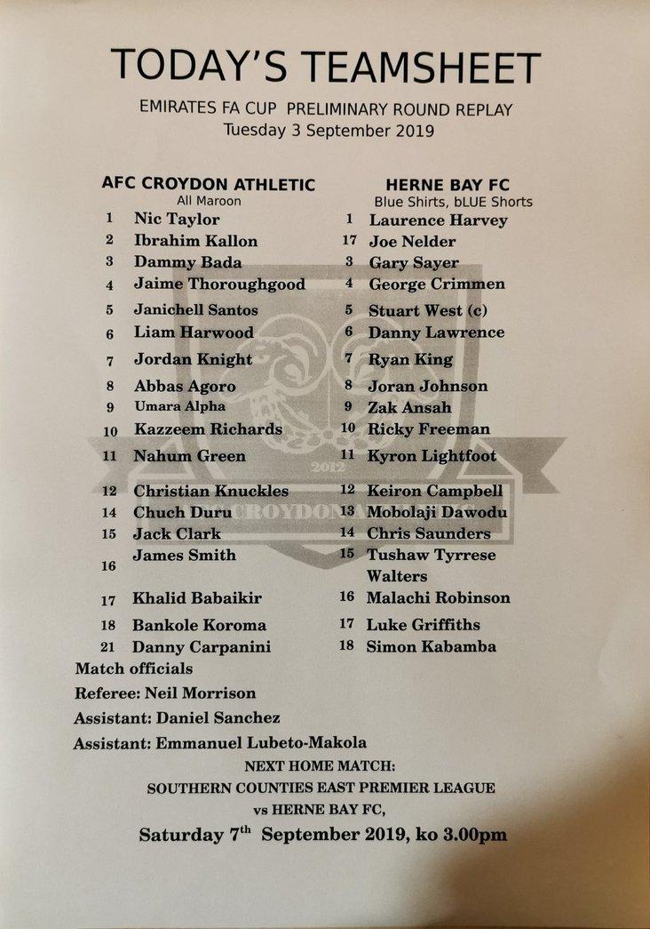 AFC Croydon Athletic v Herne Bay