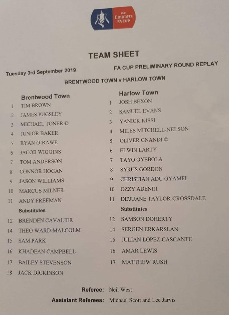 Brentwood Town v Harlow Town