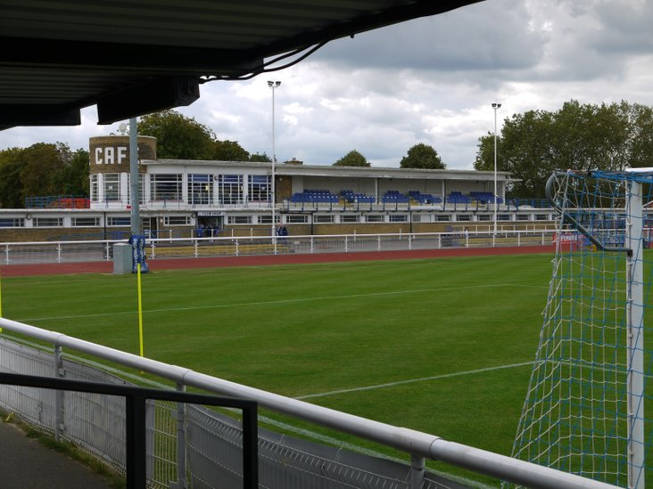 Enfield Town's clubhouse and bar, taken from the back of the terrace
