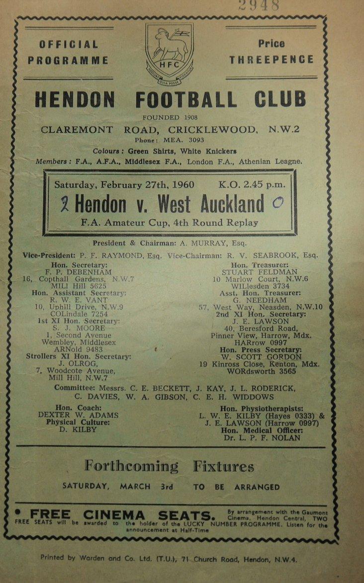 Hendon v West Auckland, Feb 1960