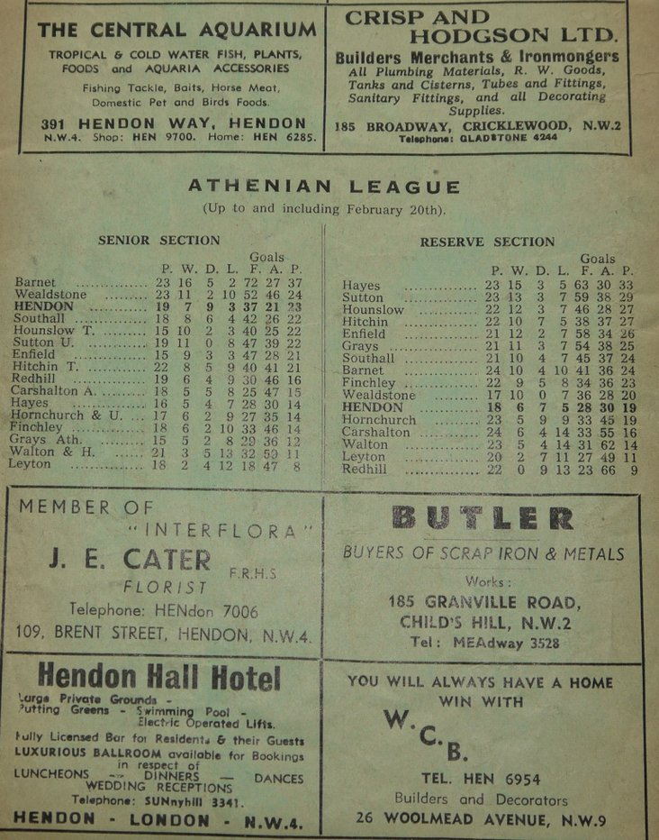 The Athenian League table from Feb 20th, 1960