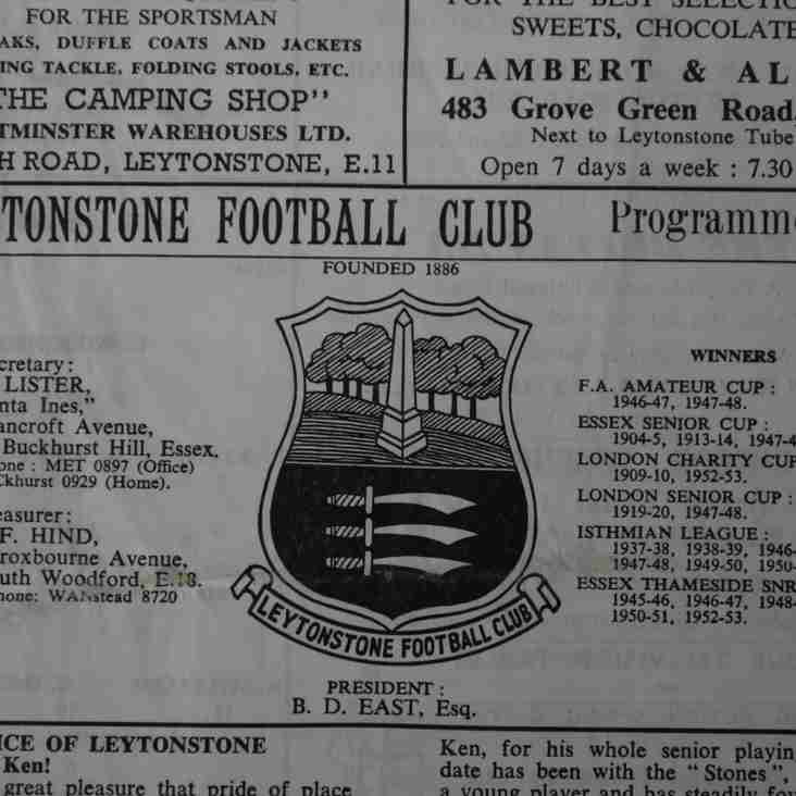 Football Programmes of Yesteryear No. 3: Leytonstone v Wimbledon, 1963-64