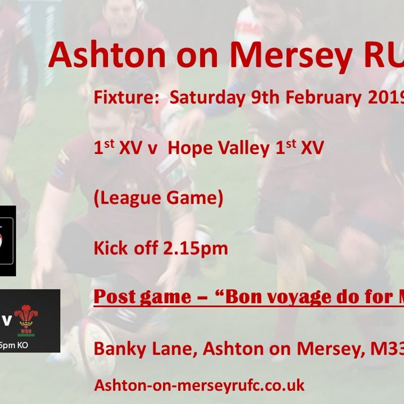 1st XV home to Hope Valley 1st XV  9th February