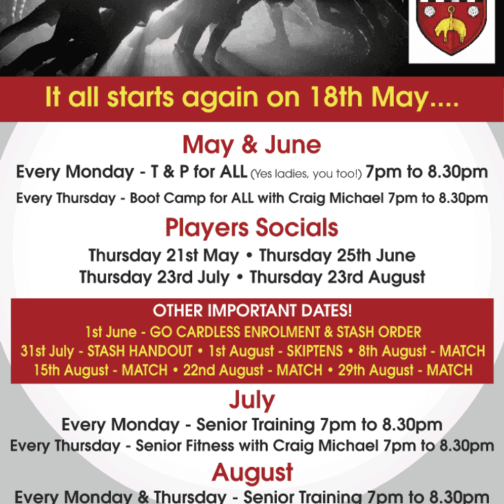 SKIPTON RFC PLANS FOR THE SUMMER MONTHS.