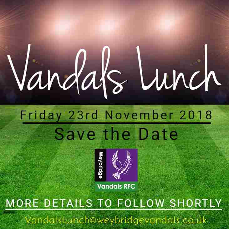 Vandals Lunch - Friday 23rd November 2018