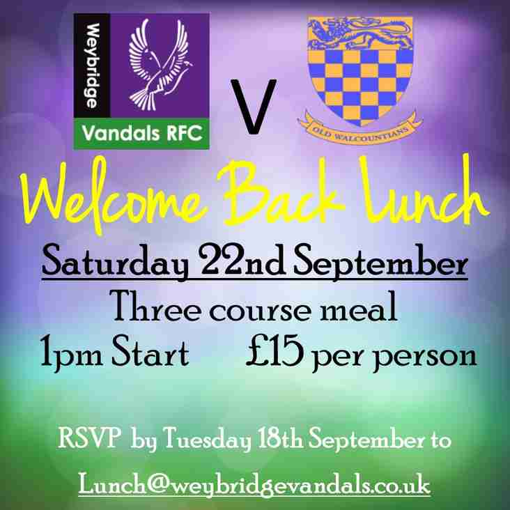 Welcome Back Lunch - Saturday 22nd September