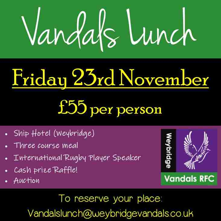 Vandals Lunch - Friday 23rd November