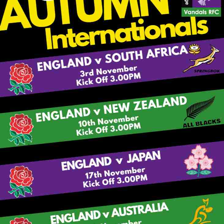 Autumn Internationals at Vandals