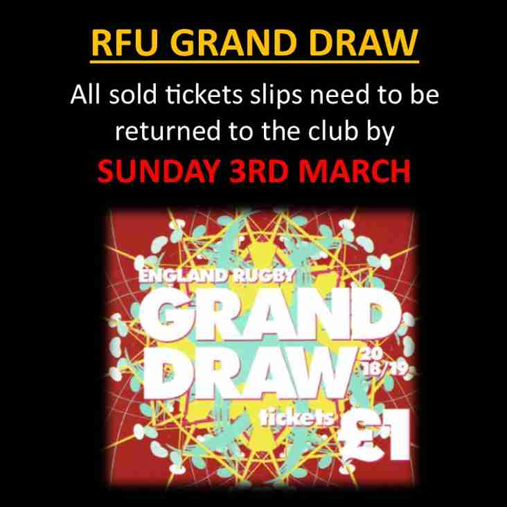 RFU Grand Draw - Closing soon