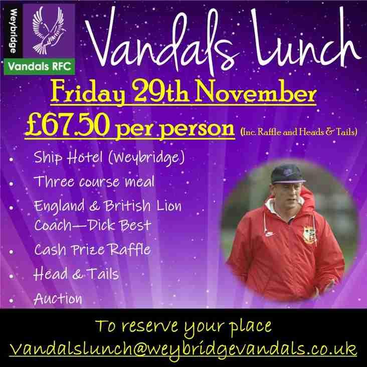 Vandals Lunch - Friday 29thNovember
