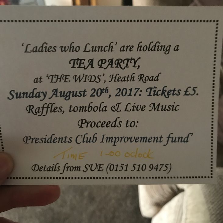 Don&#039;t forget - Mrs President&#039;s High Tea !!!!<
