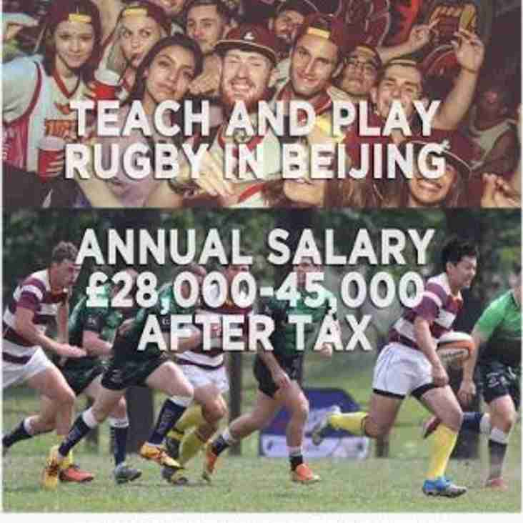 Chinese connection. Job offer and play rugby in Beijing