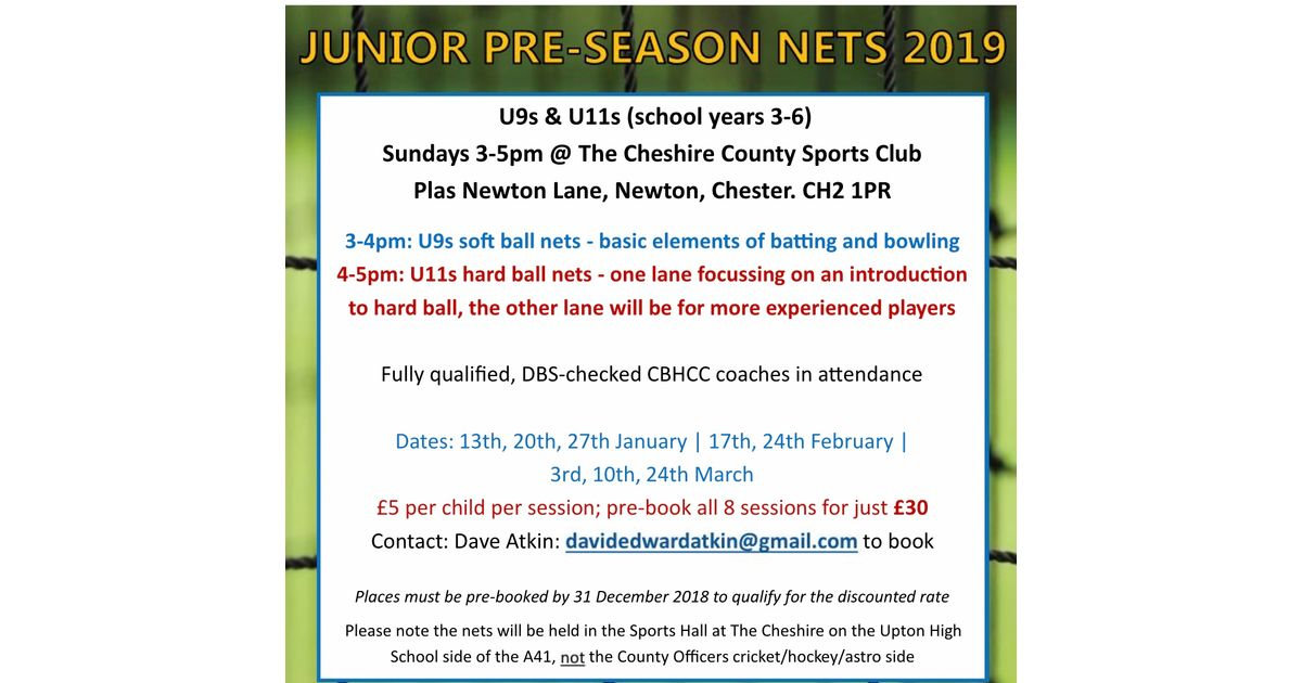 Junior nets - Chester Boughton Hall Cricket Club