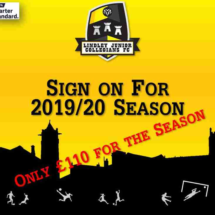 Sign on For 2019/20 Season