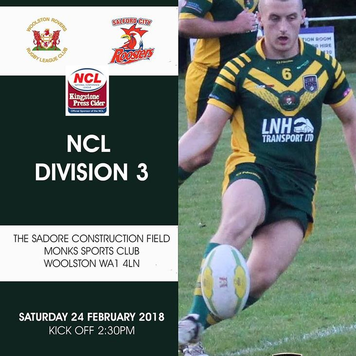 Woolston Rovers v Salford City Roosters - Saturday afternoon<