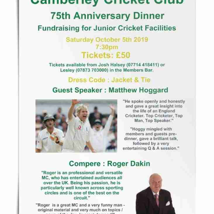 75th Anniversary Dinner - Saturday Oct 5th