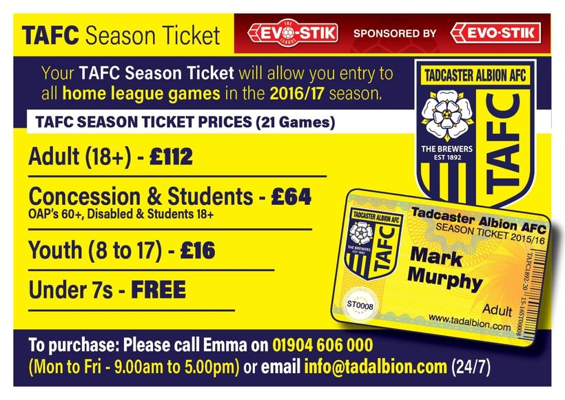 d76d3b0ea049 Breaking News  2016 17 Season Ticket Details - News - Tadcaster ...