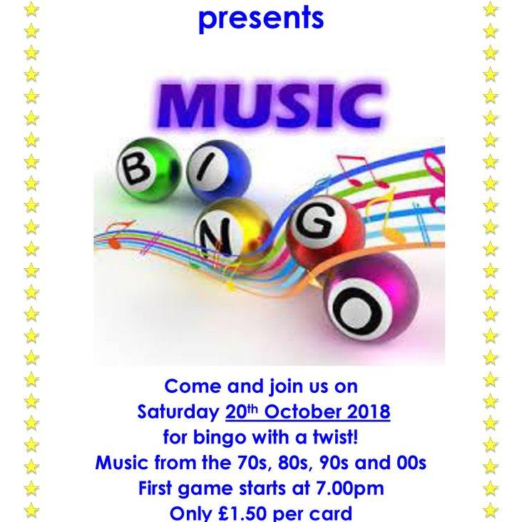 Music Bingo , Sat 20th Oct <