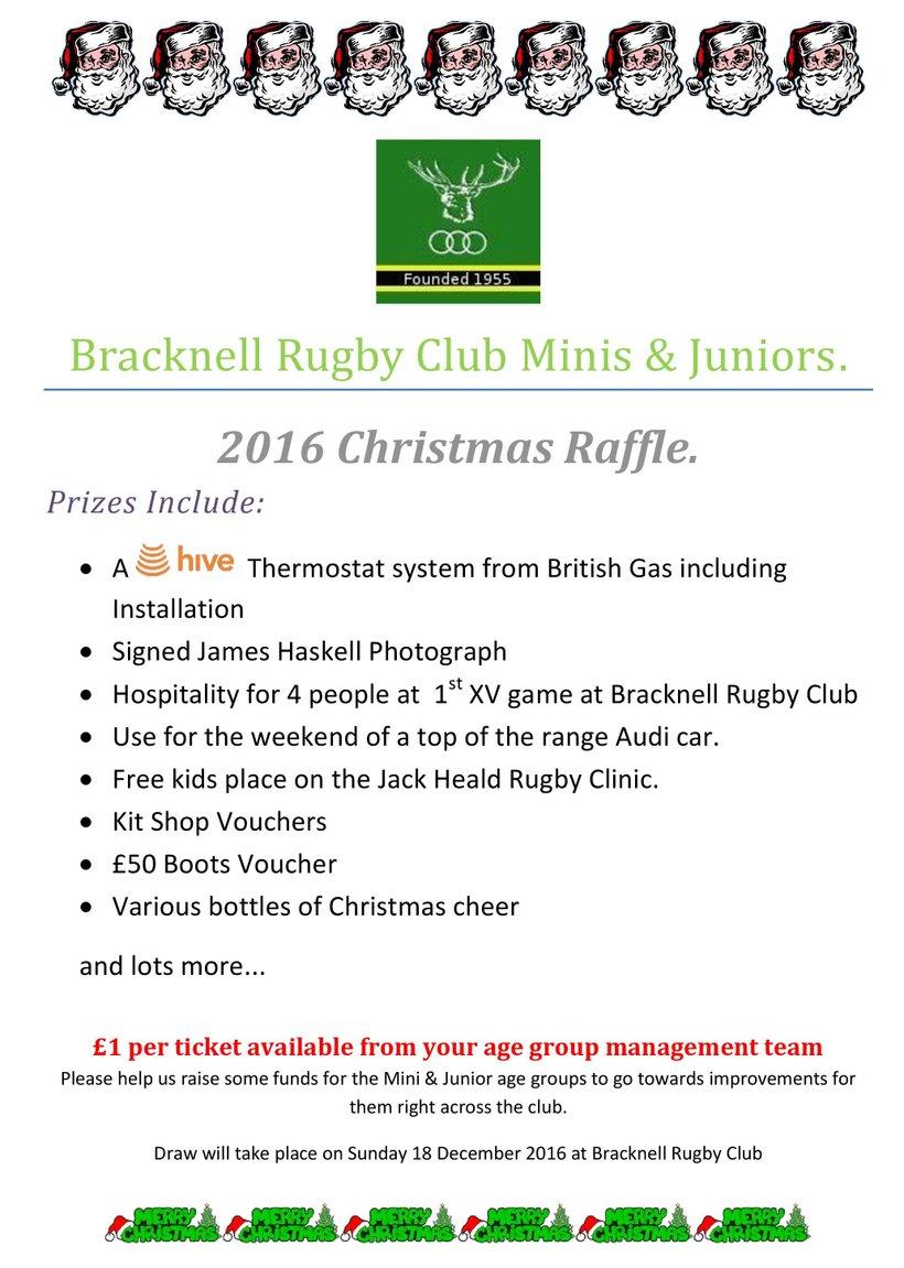 BRFC Minis & Juniors Xmas Raffle - News - Bracknell RFC