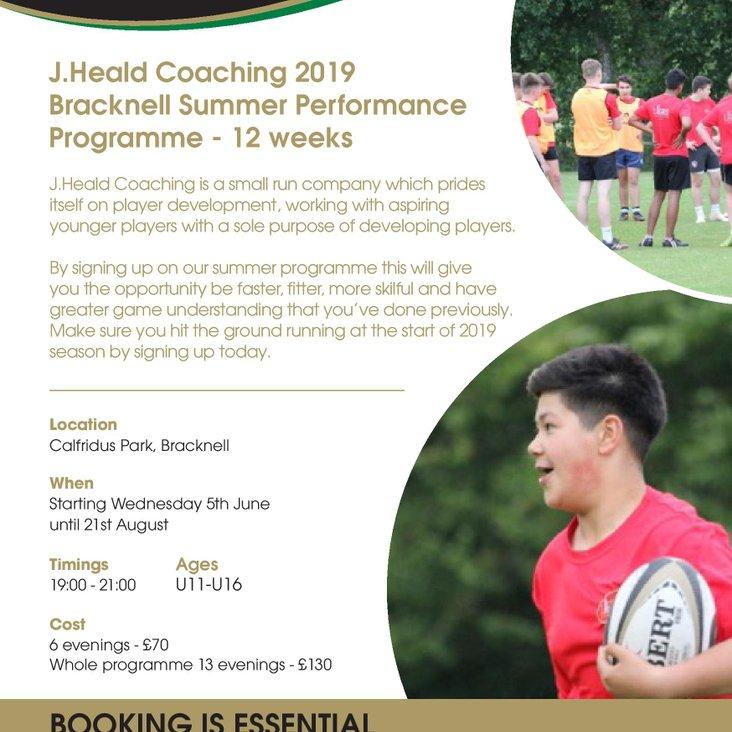 J Heald Coaching Courses Summer 2019<