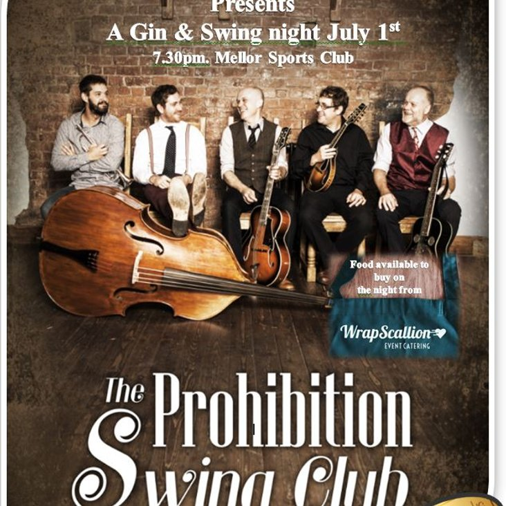 Gin &amp; Swing night July 1st &amp;  Mellor Sports Club<