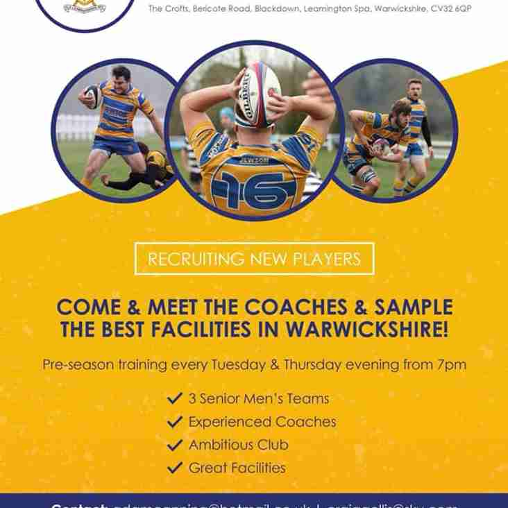 Calling all Rugby Players! Pre-Season starts 2nd July