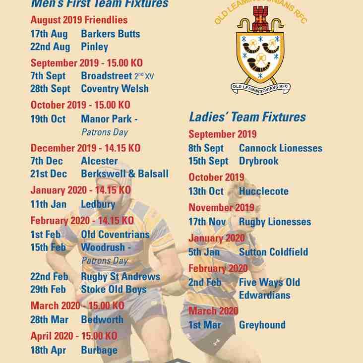 OLRFC Home Fixtures 2019/20 Season