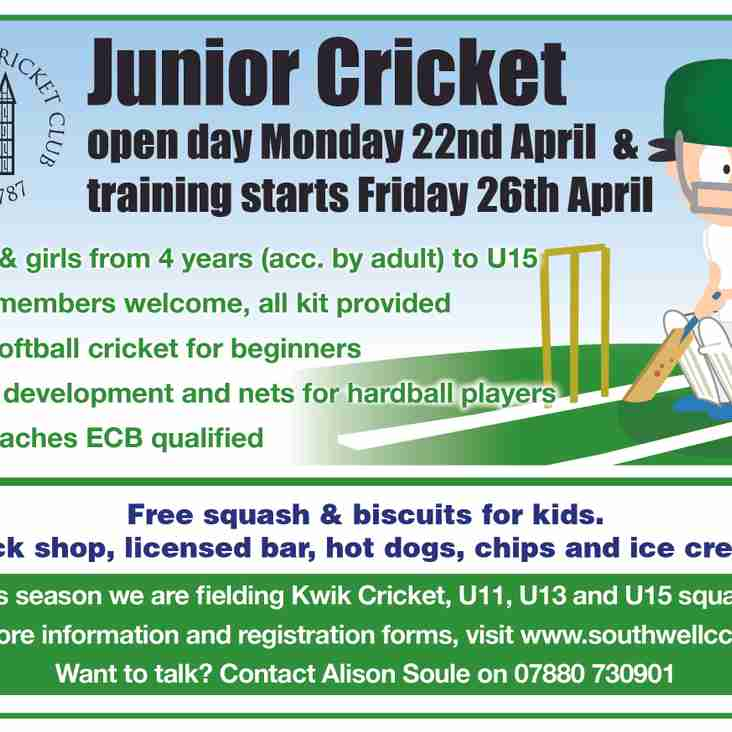 Junior Cricket Training Starts Tonight - Weather permitting!