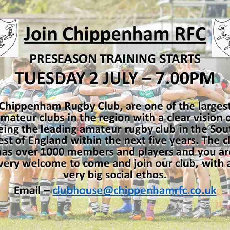 Join Chippenham RFC - Preseason starts Tuesday 2 July