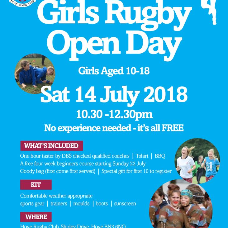 Girls wanna have fun? Come join our FREE Girls Open Day Saturday 14 July <