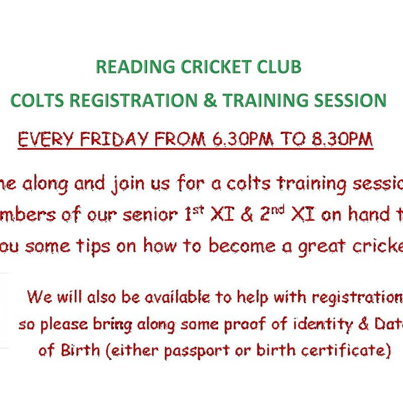 COLTS TRAINING EVERY FRIDAY @ 6.30PM