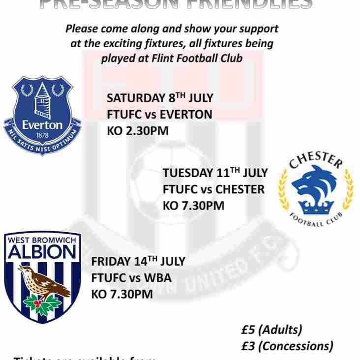 Preseason - £10 ticket covers all 3 home games