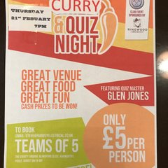 THIS COMING THURSDAY QUIZ & CURRY NIGHT.
