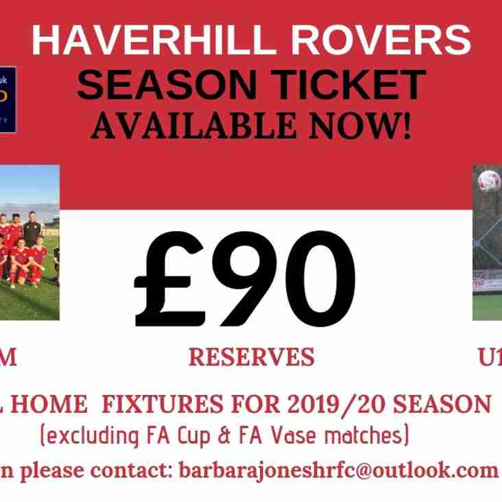 HAVERHILL ROVERS F C SEASON TICKET 2019-20 AVAILABLE NOW