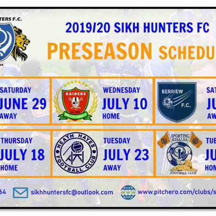 Pre-Season Schedule Revealed