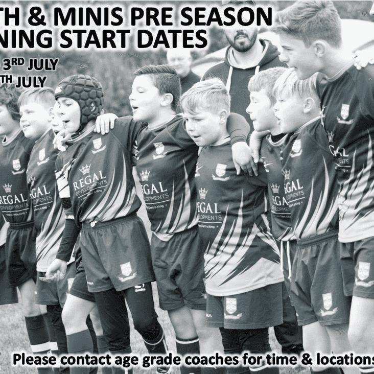 Youth & Minis Pre-Season Start Dates