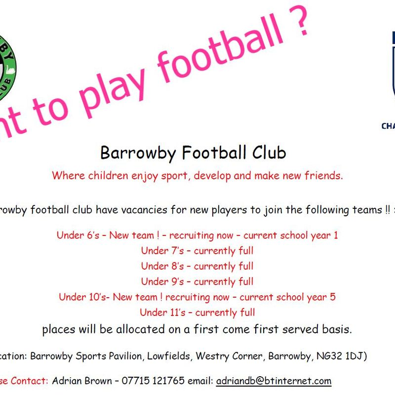 Barrowby FC are recruiting  !!