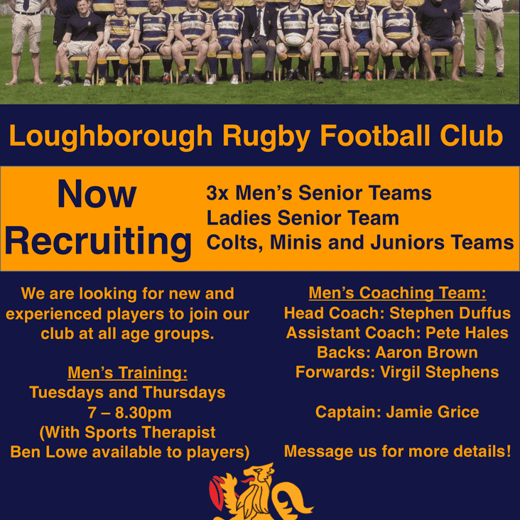 Loughborough RFC are recruiting new players!