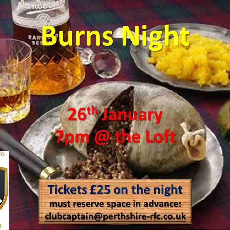 Your invitation to Perthshire Rugby Burns Night