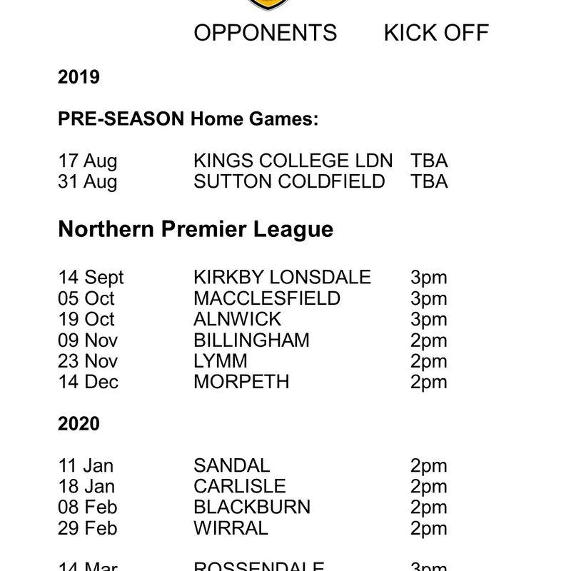 HRUFC NORTHERN PREMIER LEAGUE HOME GAMES