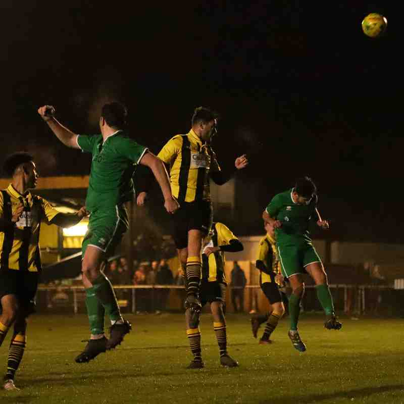 Joe Turpin's (centre) header flies just wide of the far post after an excellent cross in the penalty area