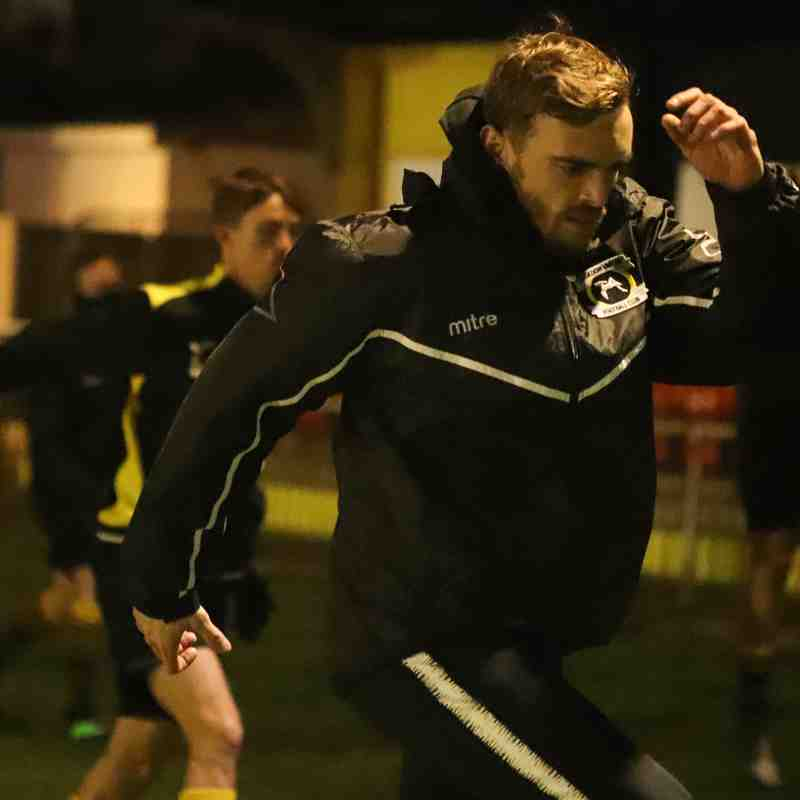 Kris Newby (centre) takes charge of the warm-up ahead of the Bees victory over Canvey Island in the Velocity Trophy