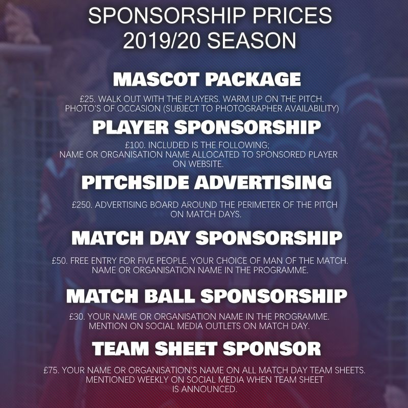 Sponsorship Prices for 2019/20 Season Announced